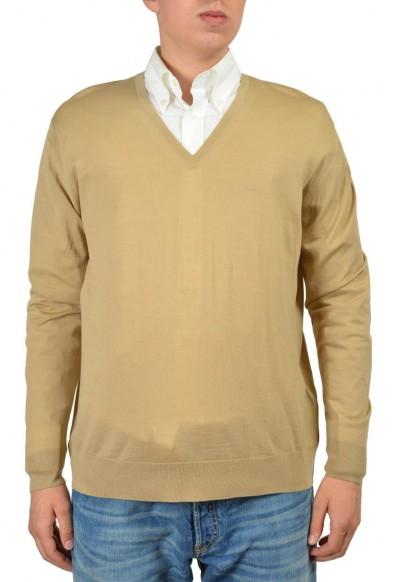 Prada Men's Brown 100% Wool V-Neck Sweater