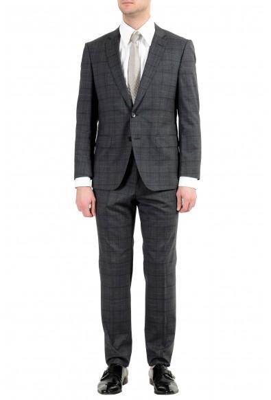 "Hugo Boss ""Huge6/Genius5"" Men's 100% Wool Slim Plaid Gray Two Button Suit"
