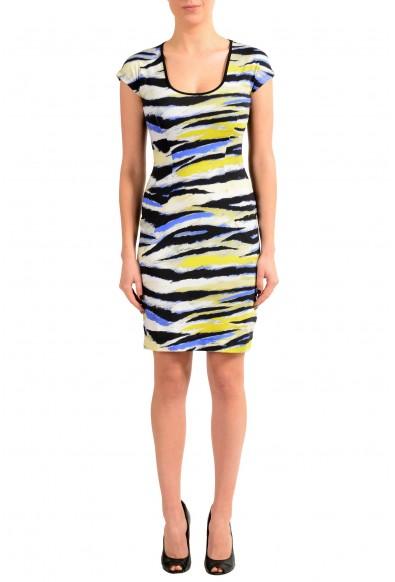 Just Cavalli Multi-Color Short Sleeve Women's Bodycon Stretch Dress