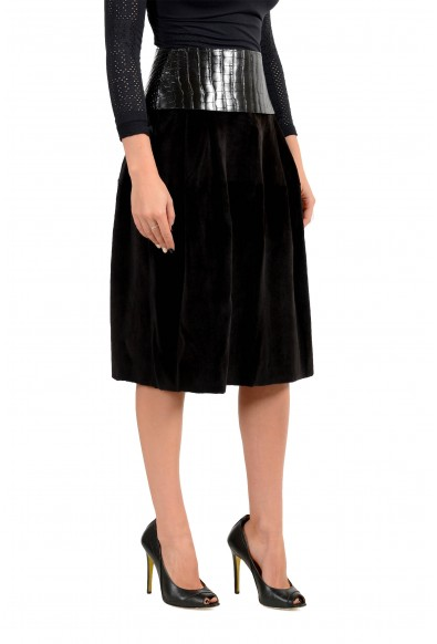 Dolce & Gabbana Women's Black 100% Mink Leather Trimmed Skirt: Picture 2