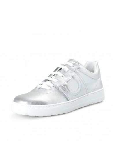 """Salvatore Ferragamo Women's """"FASANO"""" Silver Leather Fashion Sneakers Shoes"""