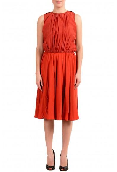 "Hugo Boss Women's ""Egioie"" Silk Orange Sleeveless Sundress Dress"