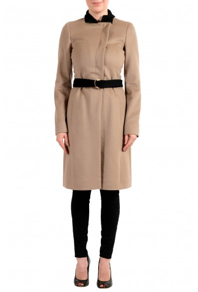 "Hugo Boss Women's ""Cargona"" Brown 100% Wool Belted Coat"