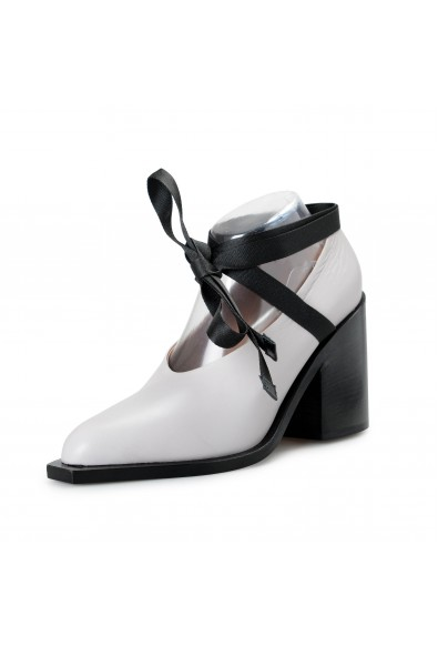 Marni Women's Gray Leather Heeled Ankle Strap Pumps Shoes