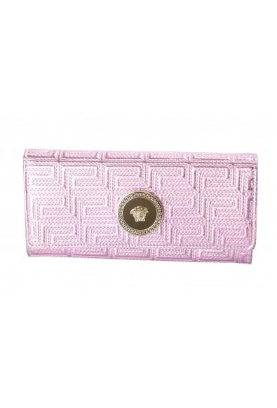 Versace Women's Sparkle Pink 100% Leather Medusa Embellished Wallet
