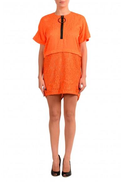 Just Cavalli Women's Orange Lace Short Sleeve Shift Dress