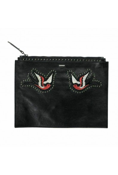 Just Cavalli 100% Leather Black Embellished Women's Clutch Bag