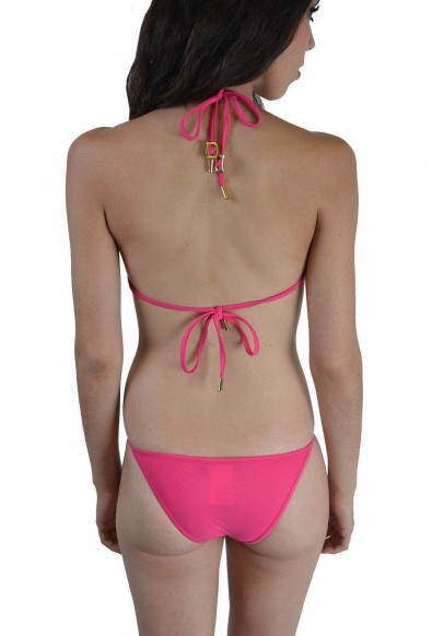 Dsquared Women's Pink Metal Detail Decorated Two Piece Bikini Swimsuit US M EU 42: Picture 2