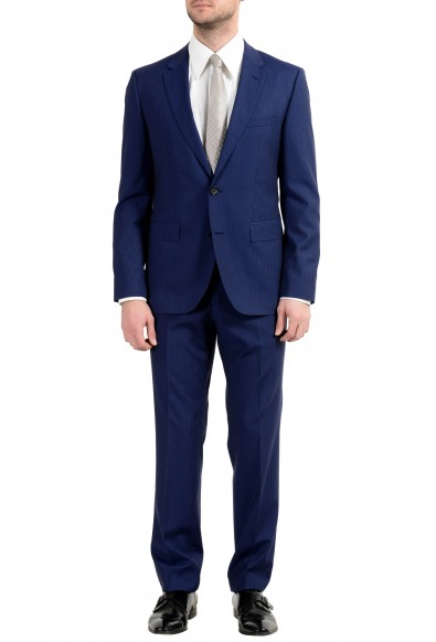 "Hugo Boss ""C-Jeffery/C-Simmon"" Men's 100% Wool Blue Striped Two Button Suit"
