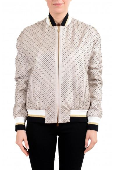 Versace Women's 100% Silk Beige Studded Full Zip Bomber Jacket