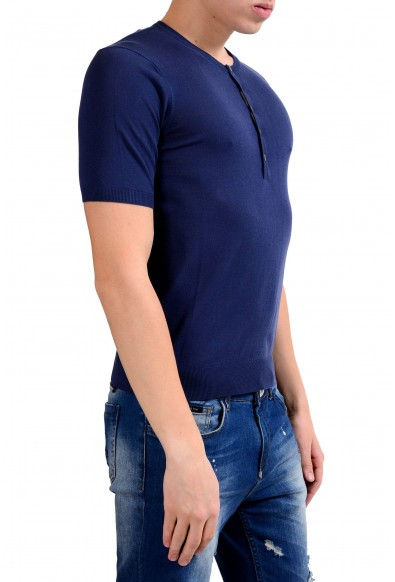 Malo Men's Blue Knitted Short Sleeve Henley Shirt : Picture 2