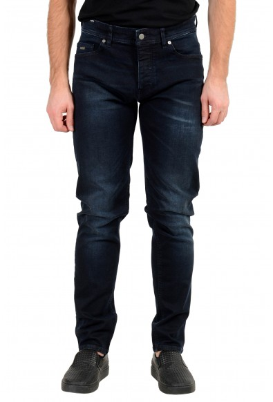 """Hugo Boss Men's """"Taber BC-P"""" Tapered Fit Dark Blue Wash Stretch Jeans"""
