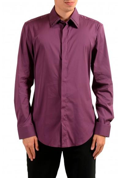 Versace Men's Burgundy Long Sleeve Dress Shirt