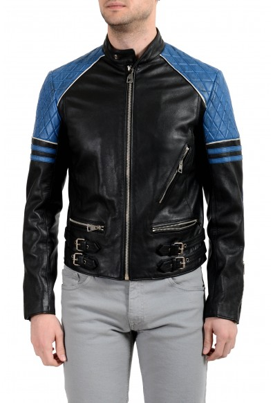 Just Cavalli Men's 100% Leather Multi-Color Full Zip Jacket