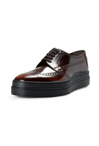 Prada Men's 2EE285 Deep Brown Leather Casual Oxfords Shoes