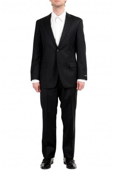 "Hugo Boss ""Paolini1/Movio1US"" Men's 100% Wool Black Button Two Button Suit"