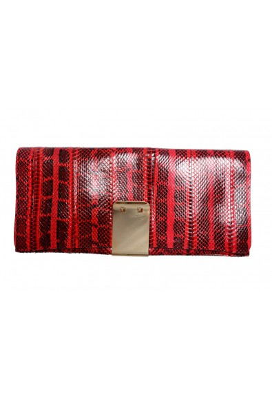 Valentino Garavani Women's Red Python Rockstud Long Clutch Bag