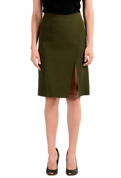 Versace Women's Olive Green Straight Pencil Skirt