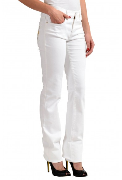 Versace Jeans White Women's Embellished Straight Leg Denim Jeans: Picture 2