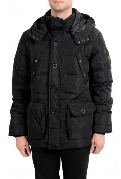Roberto Cavalli Men's Down Black Full Zip Hooded Parka Jacket