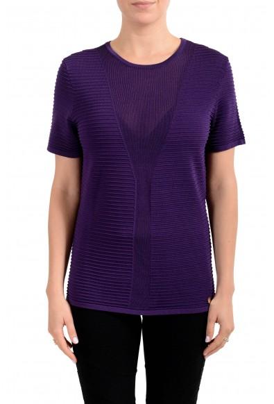 Versace Collection Women's Purple Short Sleeve Sweater