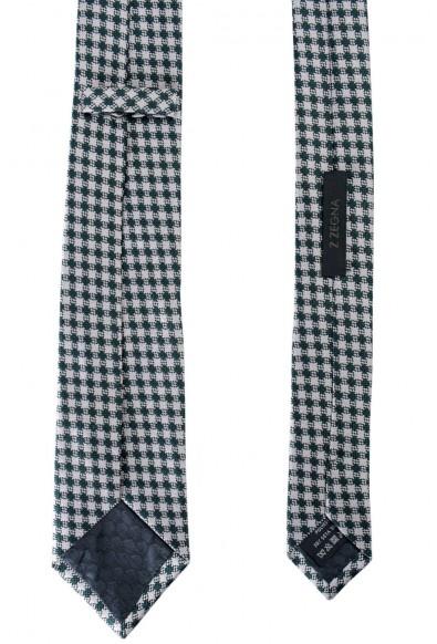 Z Zegna Men's Gray Geometric Print Silk Tie: Picture 2