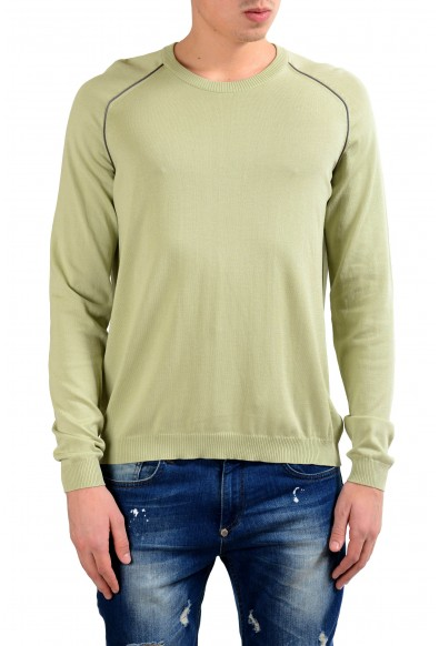 Malo Men's Asparagus Green Crewneck Light Pullover Sweater