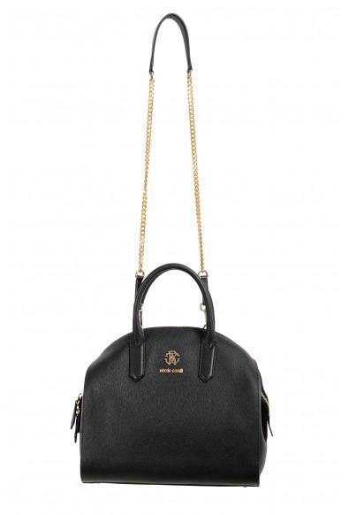 Roberto Cavalli Women's Black Leather Shoulder Handbag Satchel Bag