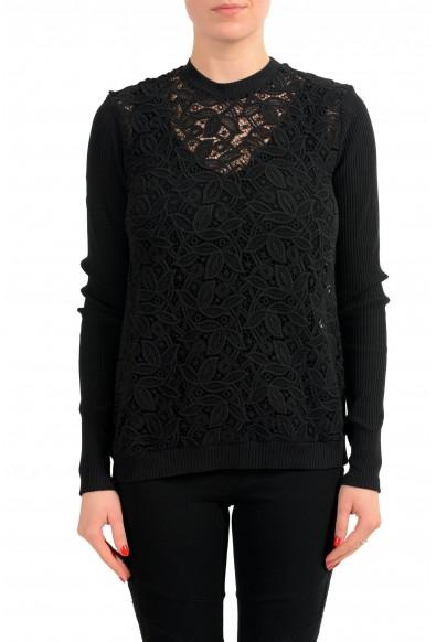 Versace Versus Black See Through Women's Crewneck Sweater