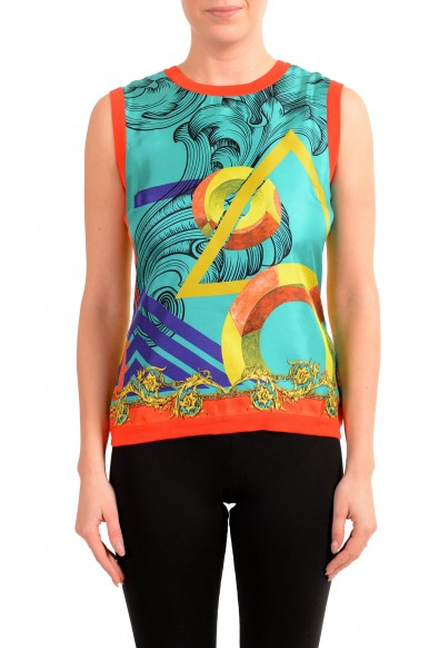 Versace Collection Women's Multi-Color Silk Wool Blouse Top