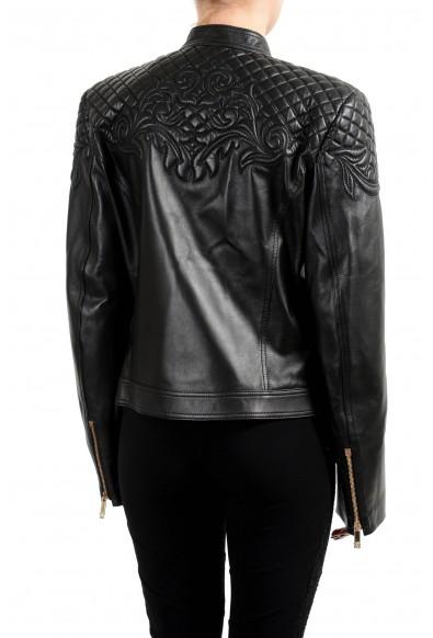 Versace Women's 100% Leather Black Designed Full Zip Jacket: Picture 2