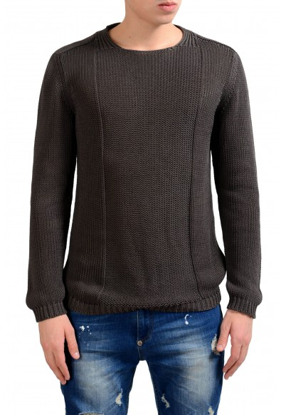 Malo Men's Gray Crewneck Heavy Knitted Sweater