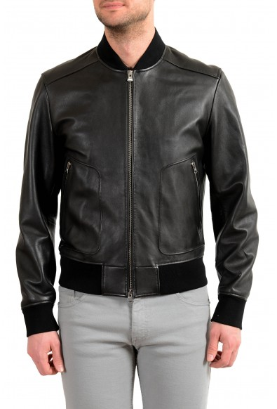 """Hugo Boss Men's """"Nipet"""" 100% Leather Black Bomber Jacket"""