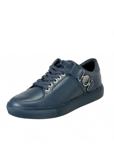 Versace Collection Men's Blue Leather Fashion Sneakers Shoes