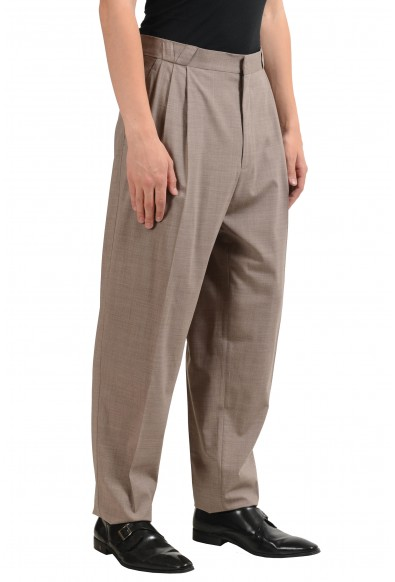 Versace Men's Beige Wool Pleated Dress Pants: Picture 2