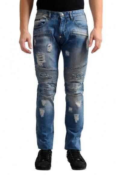 "Philipp Plein ""Illegal Fight Club"" Men's Blue Straight Cut Jeans"
