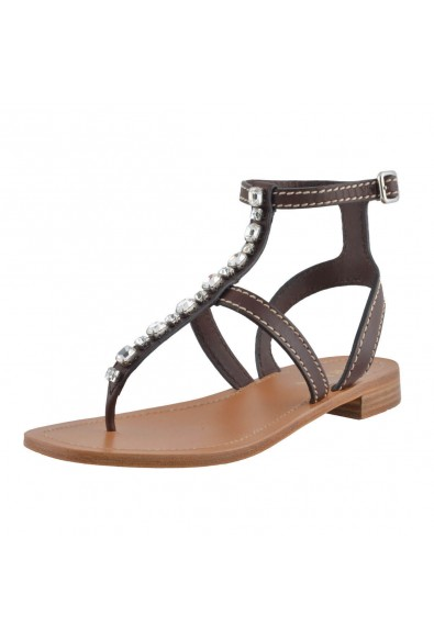 Prada Women's Brown Leather Strappy Sandals Shoes