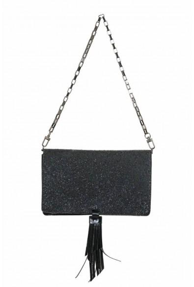 Just Cavalli 100% Leather Sparkling Black Women's Crossbody Shoulder Clutch Bag