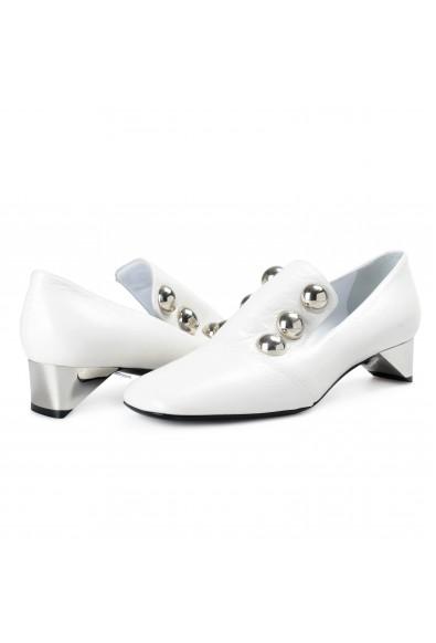 Burberry London Women's AMBRIDGE White Leather Heeled Pumps Shoes