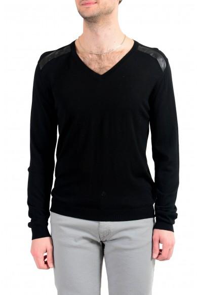 Just Cavalli Men's Black V-Neck 100% Wool Pullover Sweater