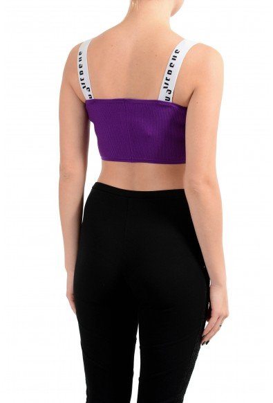 Versus by Versace Women's Purple Ribbed Cropped Top: Picture 2