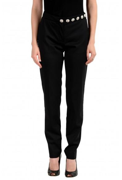 Versus By Versace Women's Black Wool Flat Front Pants