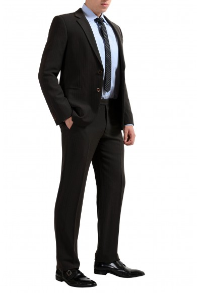 Armani Collezioni Men's Wool Brown Striped Two Button Suit: Picture 2