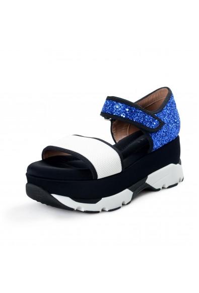 Marni Women's Sparkle Leather Canvas Ankle Strap Sandals Shoes