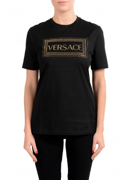 Versace Women's Black 90'S Vintage Logo Embroidered Top T-Shirt