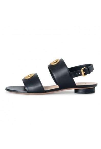 Valentino Garavani Women's Black Leather Flat Sandals Shoes: Picture 2