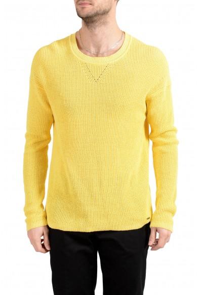 "Hugo Boss ""Silan"" Men's Linen Yellow Crewneck Sweater"