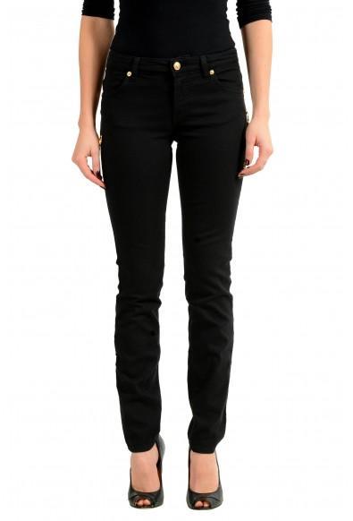 Versace Versus Black Pins Decorated Slim Fit Women's Jeans