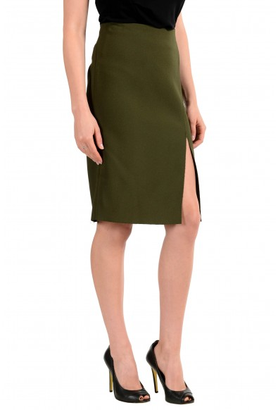 Versace Women's Olive Green Straight Pencil Skirt: Picture 2