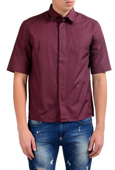 Christian Dior Men's Burgundy Short Sleeve Dress Shirt